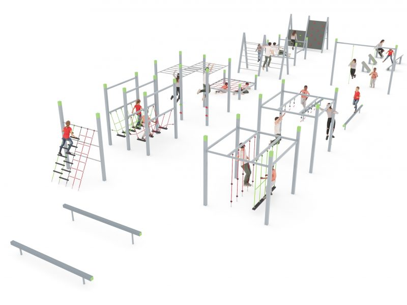 Obstacle run track with kids
